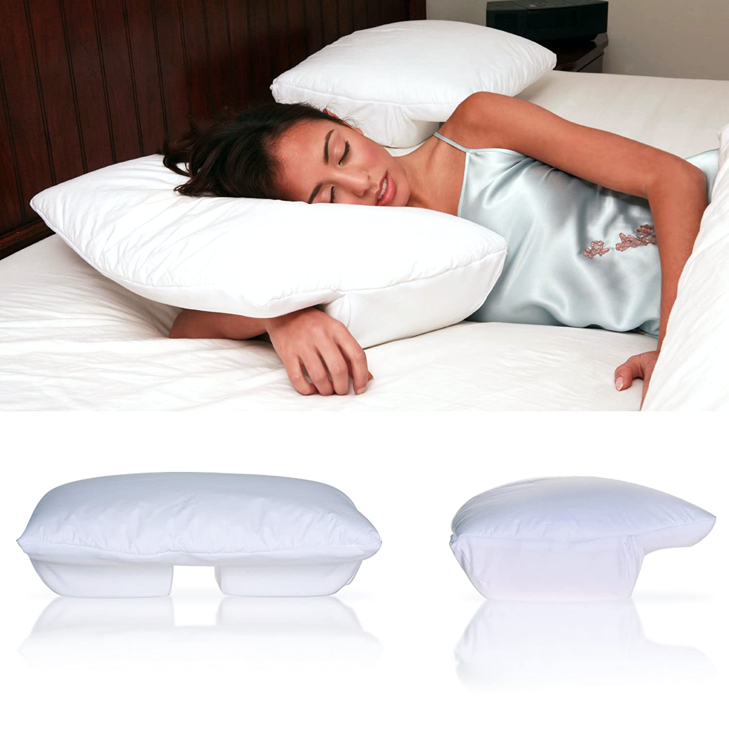 Amazon.com: Better Sleep Pillow   Memory Foam 5 Inch Hight With Cream  Velour Cover   Tempur Neck Pillow   Sleeping On Arm Under Pillow Best For  Side And ...