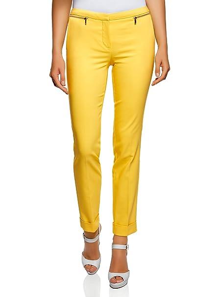 oodji Ultra Mujer Pantalones Ajustados con Cremalleras Decorativas   Amazon.es  Ropa y accesorios 0f4113dd2f0b