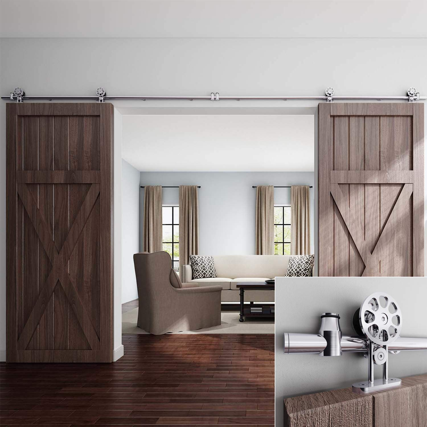 EaseLife 12 FT Double Door Top Mount Modern Sliding Door Hardware Track Kit | Stainless Steel | Anti-Rust| Slide Smooth Quiet | Easy Install | Fit Two 30''~36'' Wide Door | 12FT Track Double Door Kit