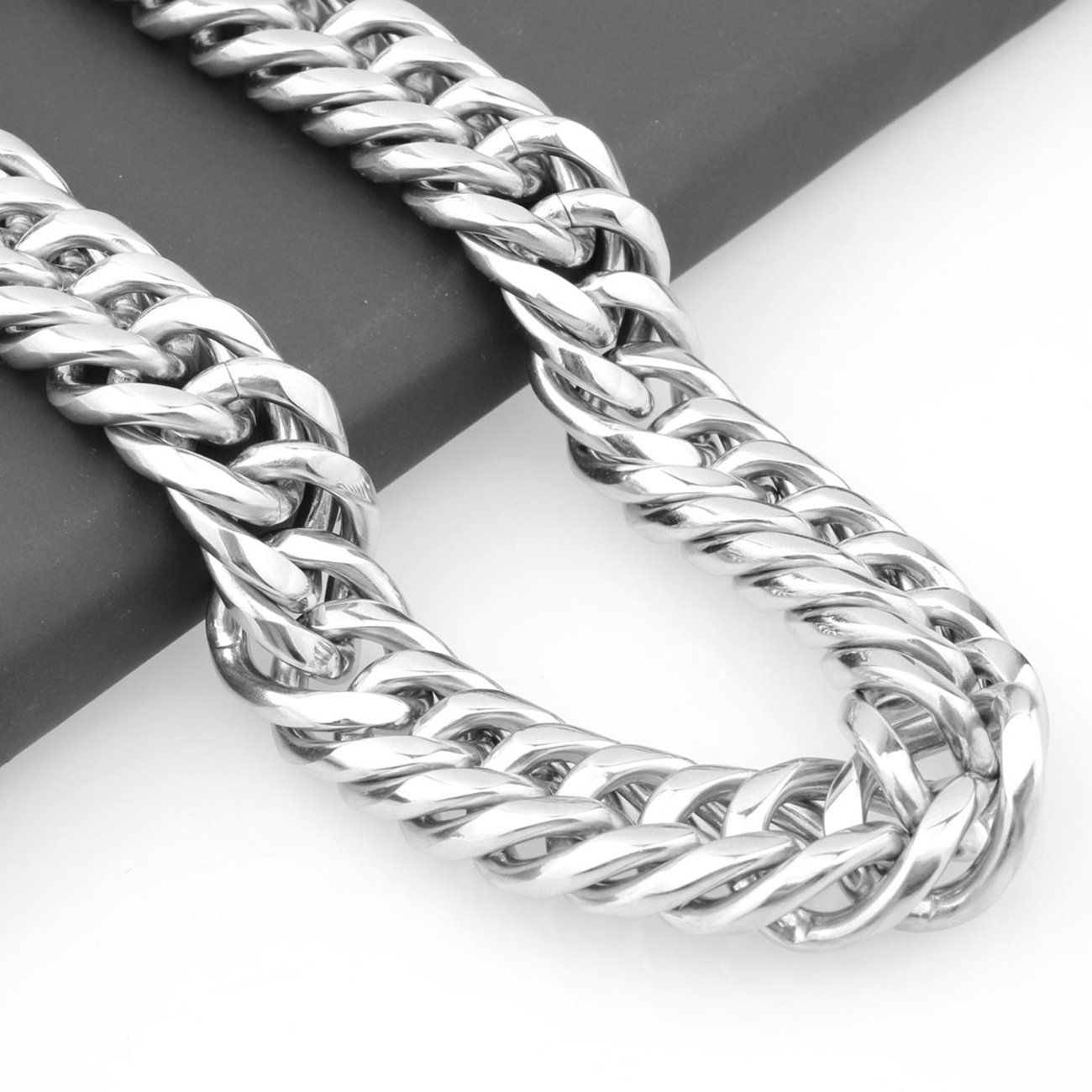 Innovative jewelry 22mm Heavy Silver Tone Stainless Steel Curb Link Chain Mens Necklace Bracelet,8-40