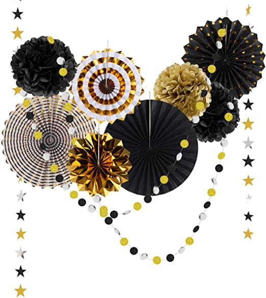 Black And Gold Party Decorations For Birthday Anniversary Wedding Graduation