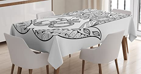 Hamsa Decor Tablecloth By Ambesonne Praying Hands Paisley Mandala Religious Patterns Sign Evil Eyes For