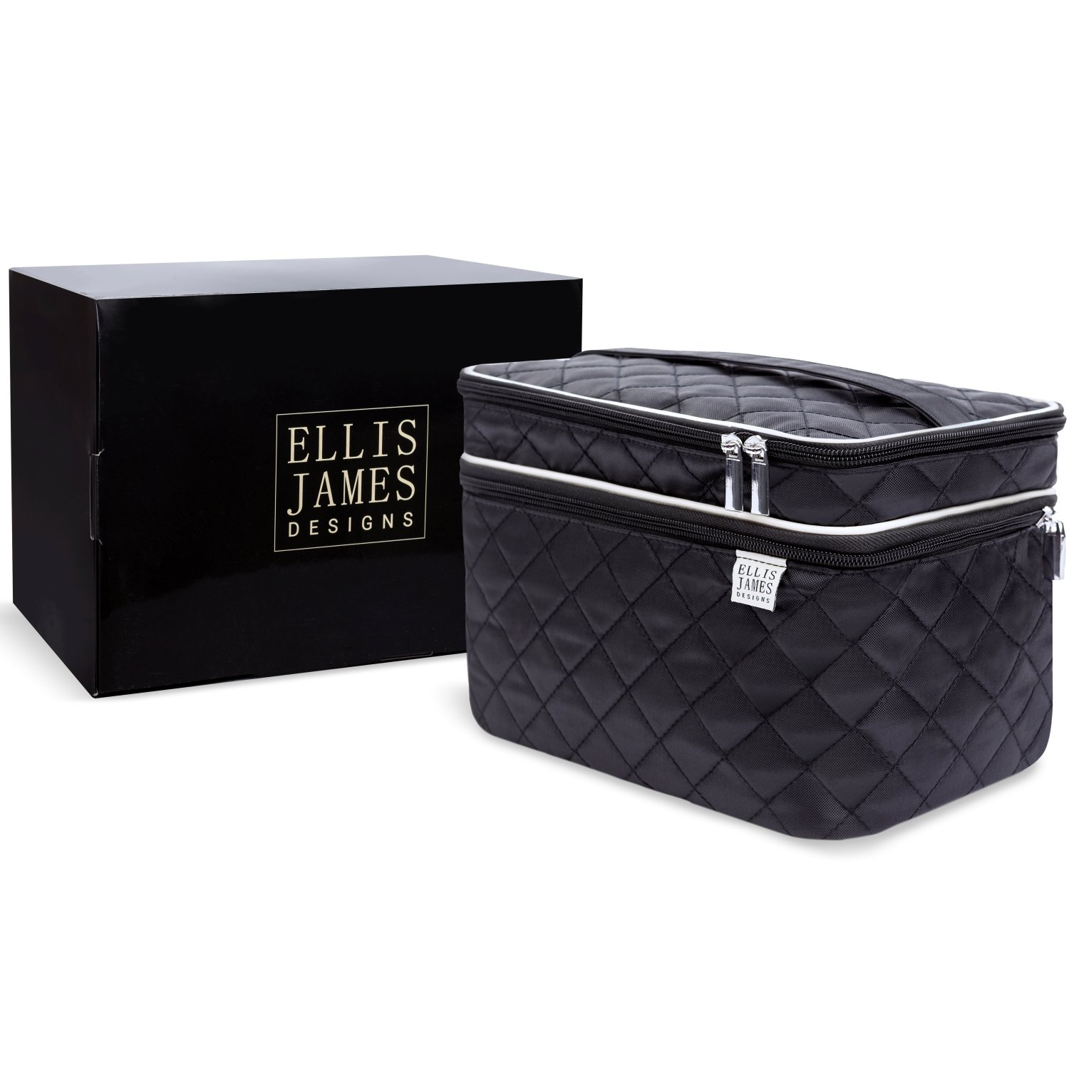 Ellis James Designs Large Travel Makeup Organizer Bag Make Up Train Case Professional - Black - Big Portable Cosmetic Bags and Cases Gifts for Women, Cute Beauty, Toiletry & Cosmetics Brush Organizers