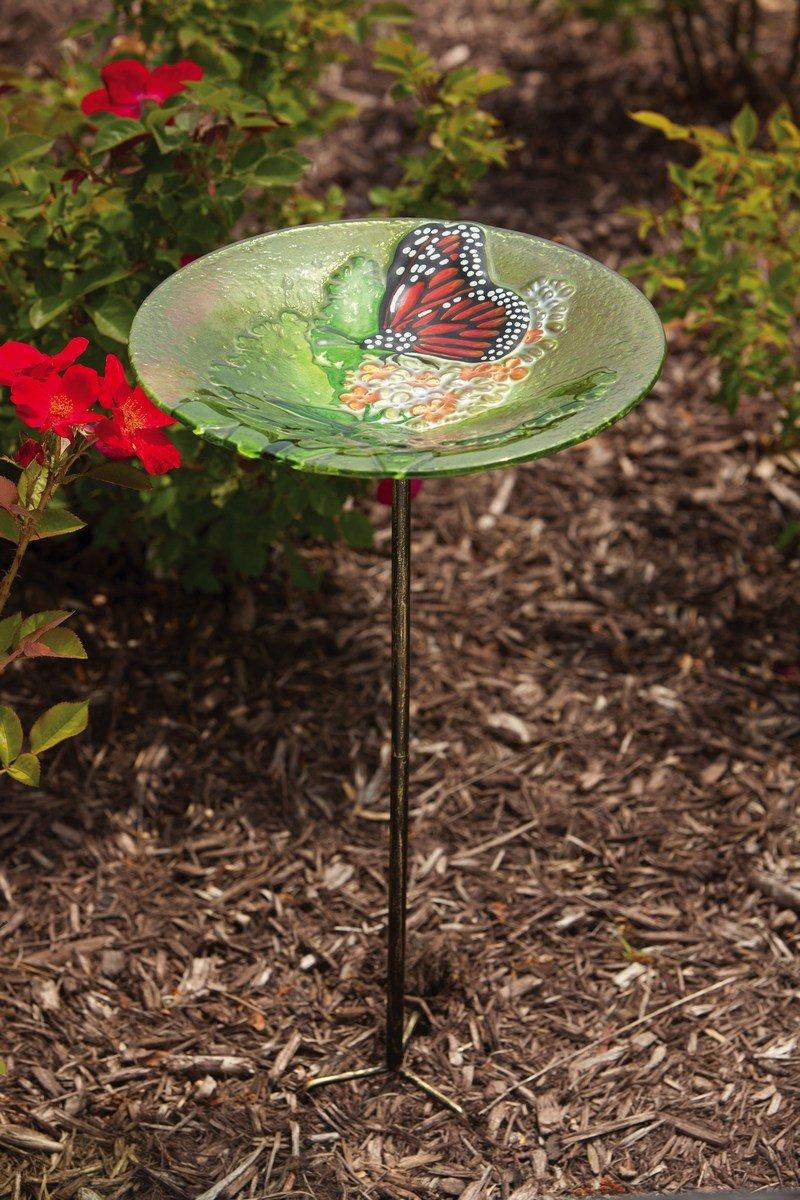 Evergreen Garden Monarch on Lilac Glass Birdbath with Stake Evergreen Flag & Garden