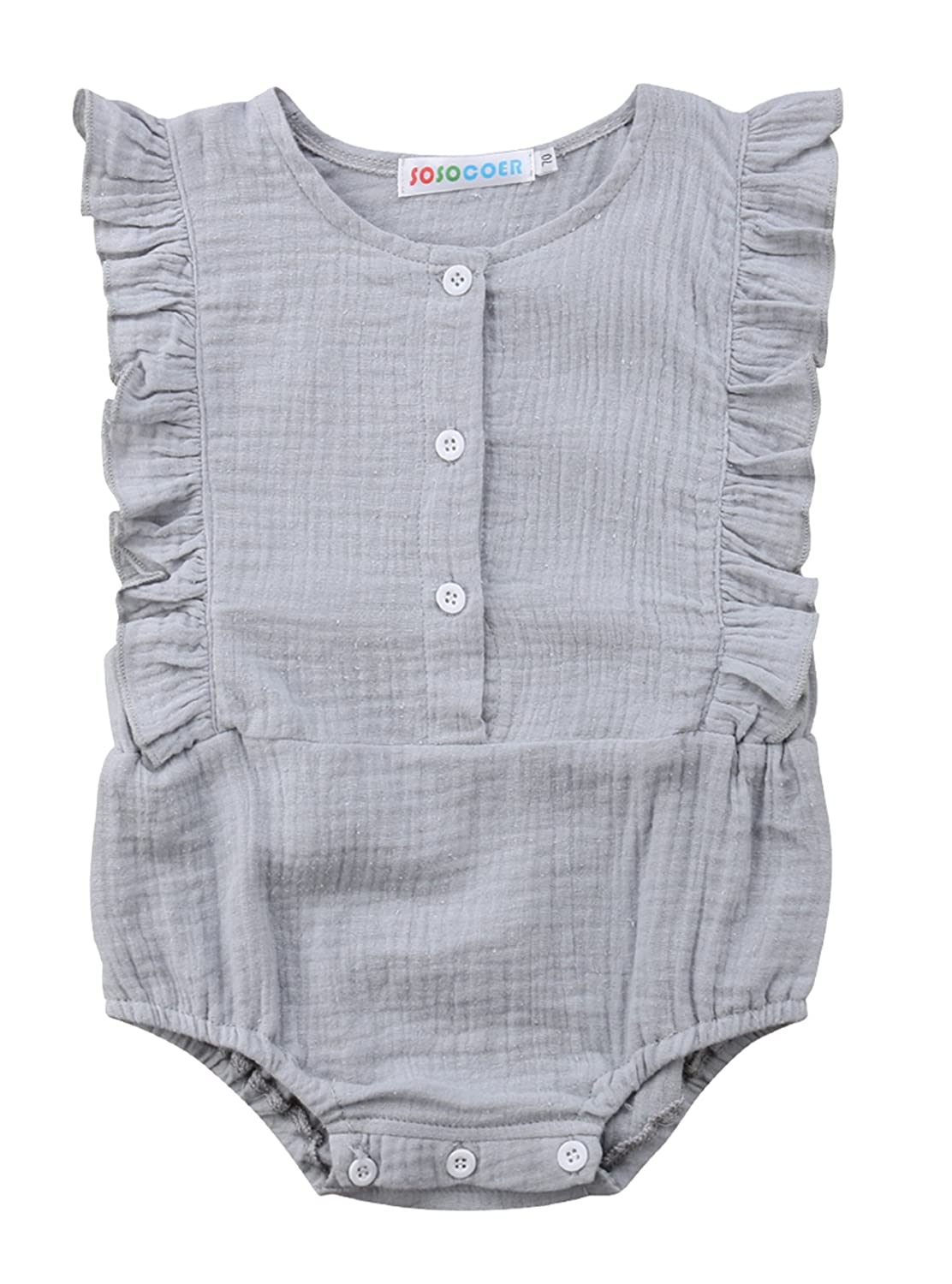 184df8f5a2e Amazon.com  Urkutoba Infant Girls Clothes Baby Girl Ruffles Romper Lace  Sleeveless Outfit Grey Bodysuit Clothes  Clothing