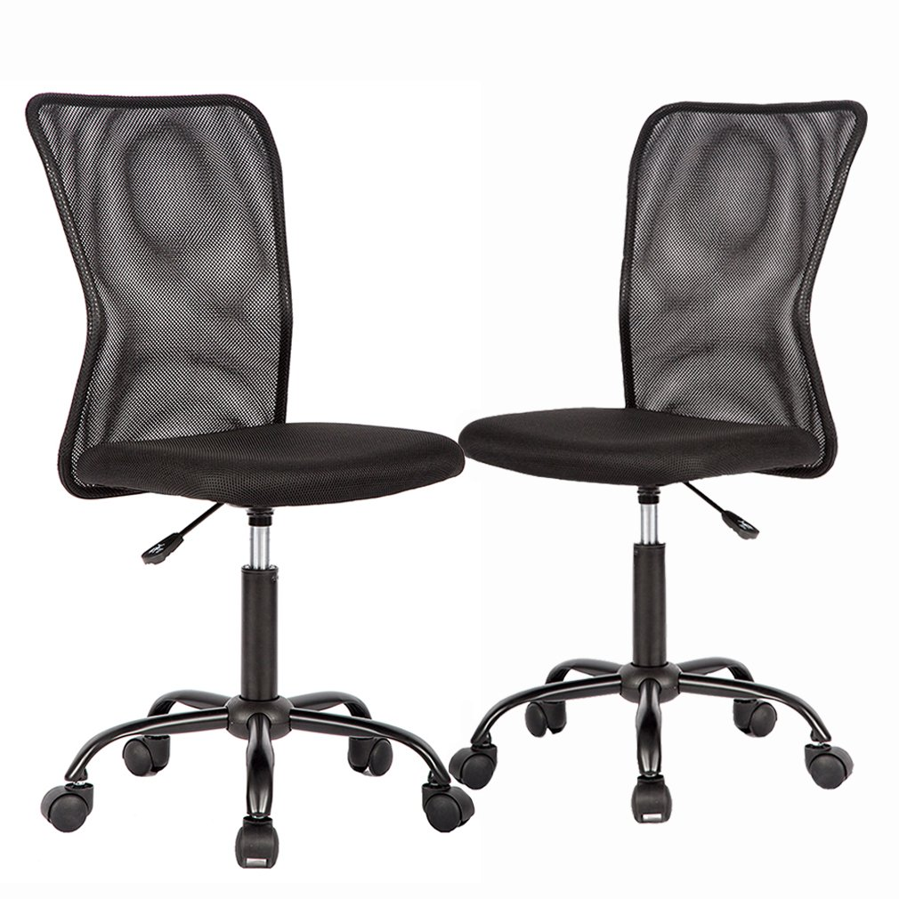Mid Back Mesh Ergonomic Computer Desk Office Chair, Black 2 Pack