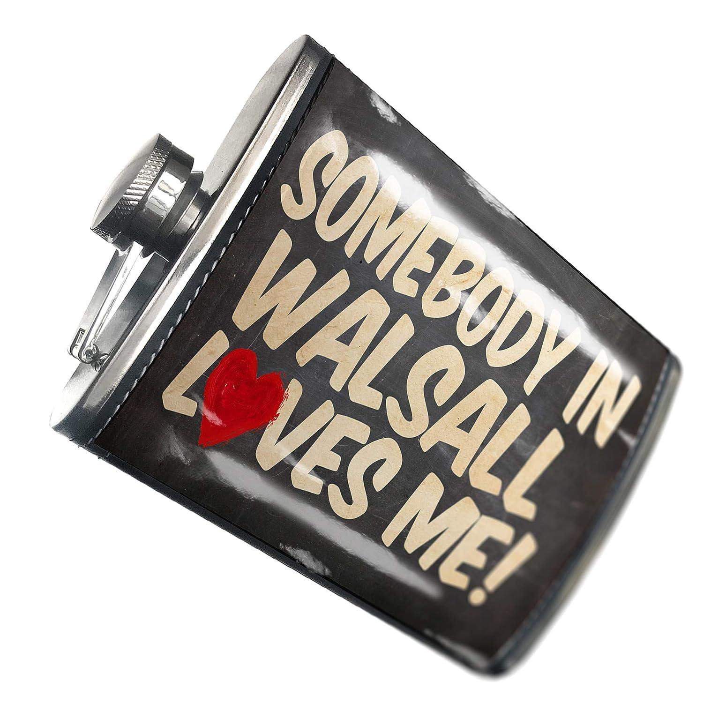 の8オンスのフラスコステッチ誰かWalsall Loves me、イギリスステンレススチール – Neonblond   B00QQVFUY8