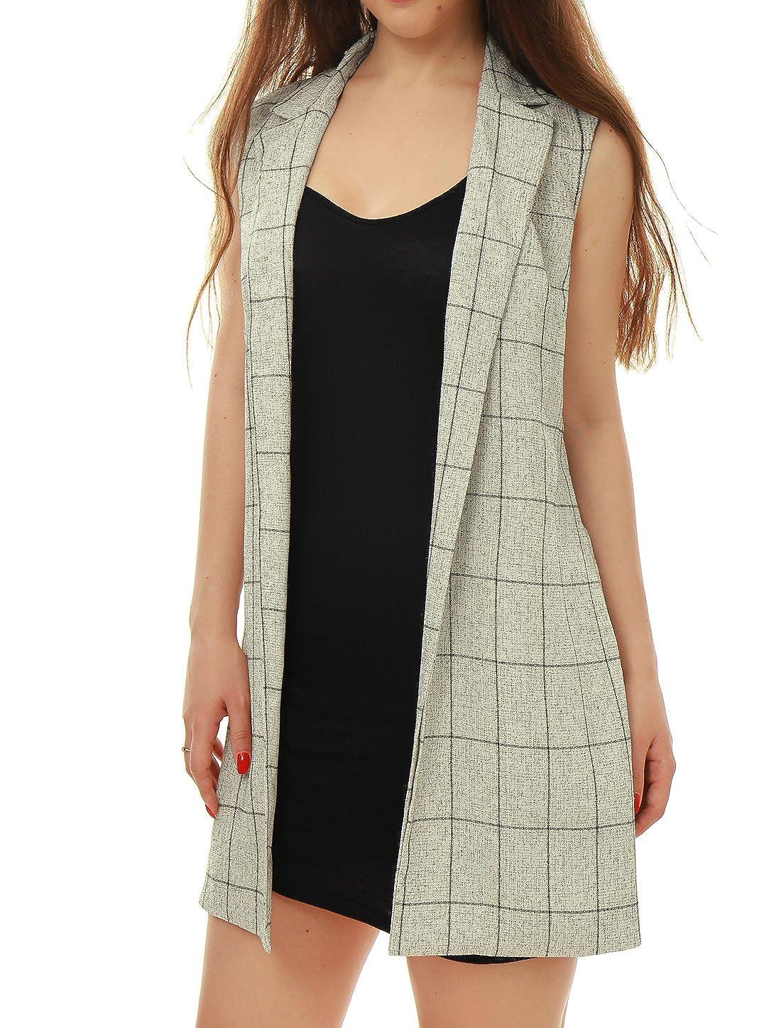 Allegra K Women's Notched Lapel Open Front Textured Plaids Long Vest s18040800it0687