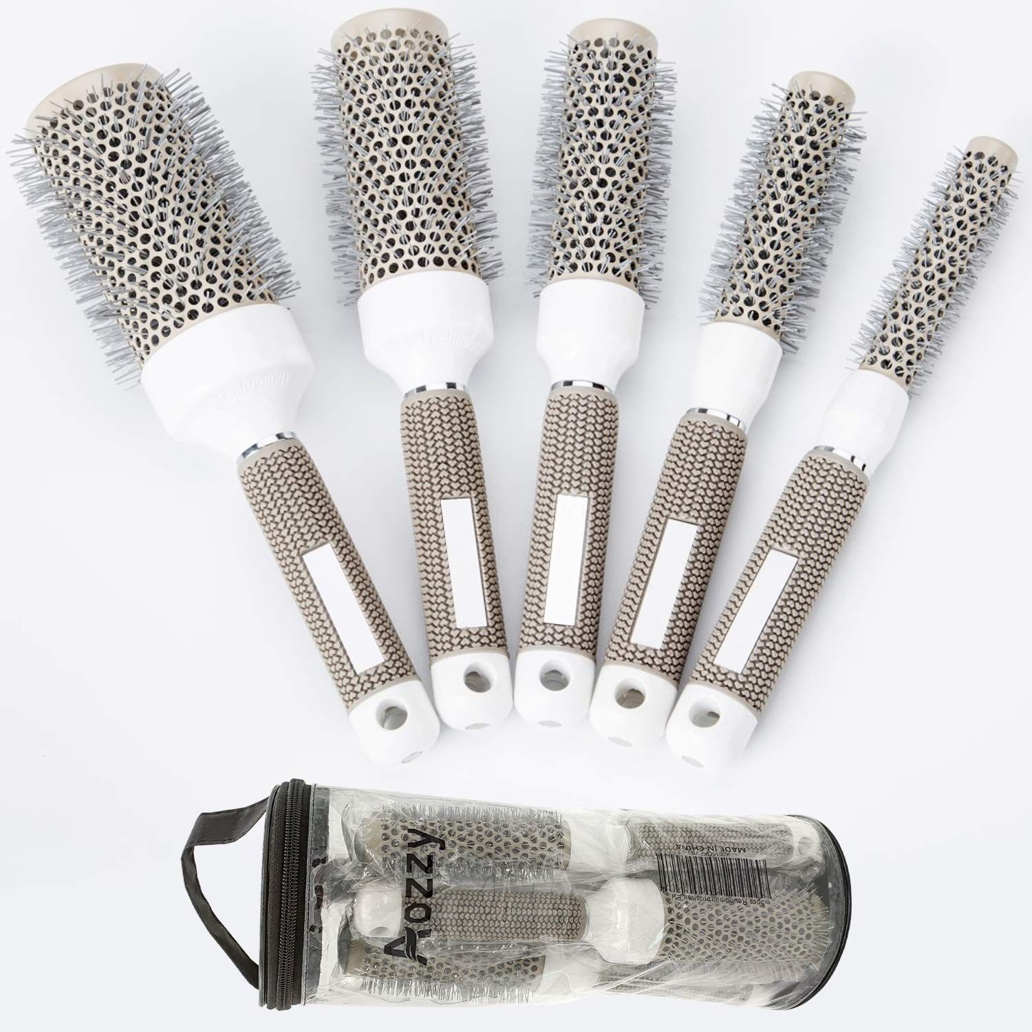 Round Brush Set for Blow Drying Curling, Professional Ceramic Ion Thermal Barrel Brush Leaves Hair Shiny Heat Styling Brush 5 Different Sizes Works Very Well with The Blow Dryer …