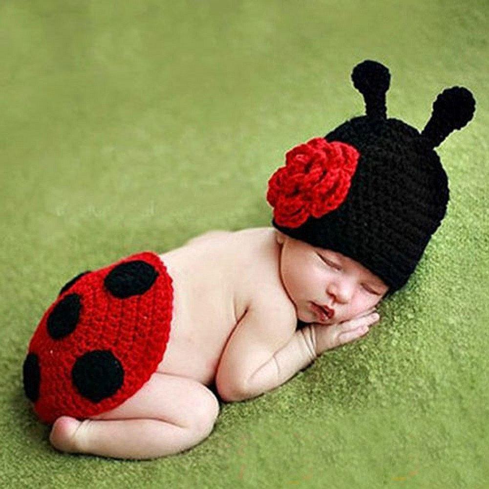 HAPPY ELEMENTS Costume molle animale infantile bello Lavorato a mano Props di neonato di lana Crochet Beetle Props dei vestiti del bambino Regalo del bambino
