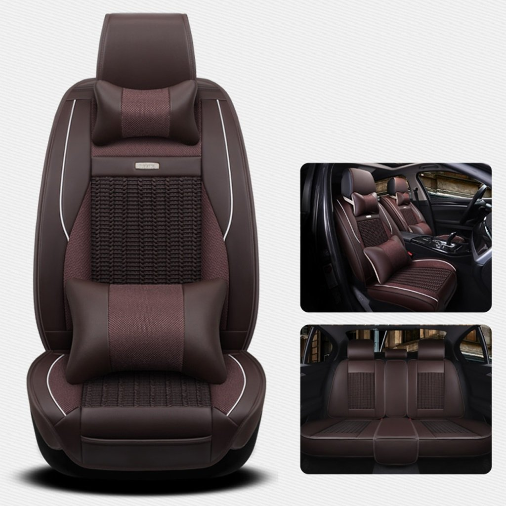 Seat Covers for Cars Full Ice Silk + PU Leather Car Seat Cover 5 Seats General Purpose Compatible Split Rear Seat Fit Most Car, Truck, SUV, Or Van Coffee Color (Size : Deluxe Edition)