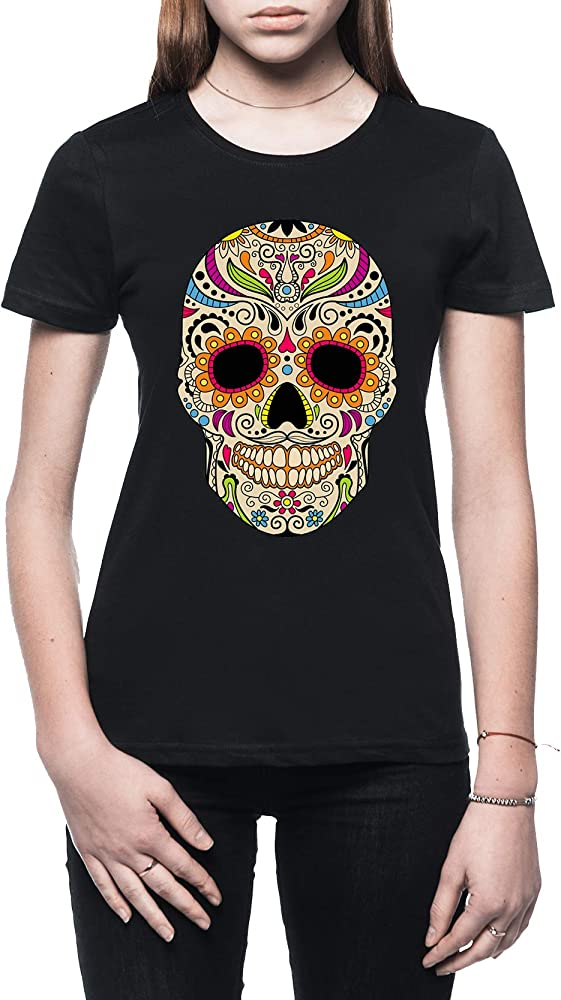 Rundi Mexicano Color Cráneo Mujer Camiseta Negro Tamaño S - Womens T-Shirt Black: Amazon.es: Ropa y accesorios