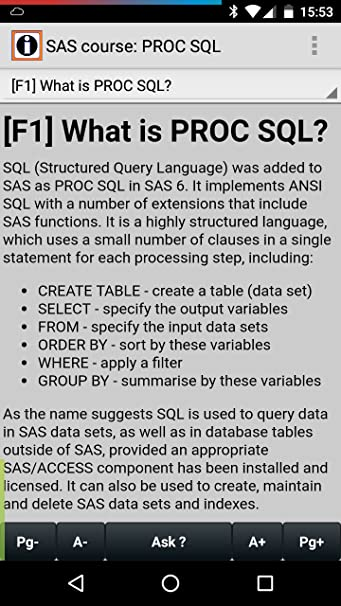 Amazon com: SAS course: PROC SQL: Appstore for Android