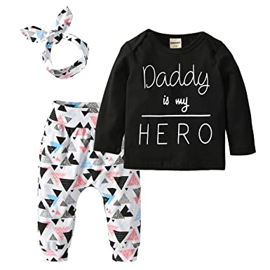1d3e52a8e0ee Amazon.com  Derouetkia Newborn Baby Girls 3Pcs Outfit Set Letters ...