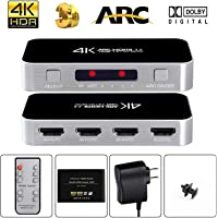 avedio links HDMI Switch with Audio Out, 4K@60Hz 4 Port 4 x 1 HDMI Switcher Selector with IR Wireless Remote Control,Max Bandwidth of 18Gbps, Support DTS-HD/Dolby-TrueHD/DTS/ Dolby-AC3/ DSD