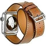 Sundaree® for Apple Watch バンド 38mm&40mm、 時計 バンド 本革、アップル ウォッチ 金属製バックル付き ファッションなデザインと精密な手作り高級レザー製 二重巻き型ベルト for Sport、Edition for Apple Watch Series 4/3/2/1(二重巻き型 ブラウン 38mm)