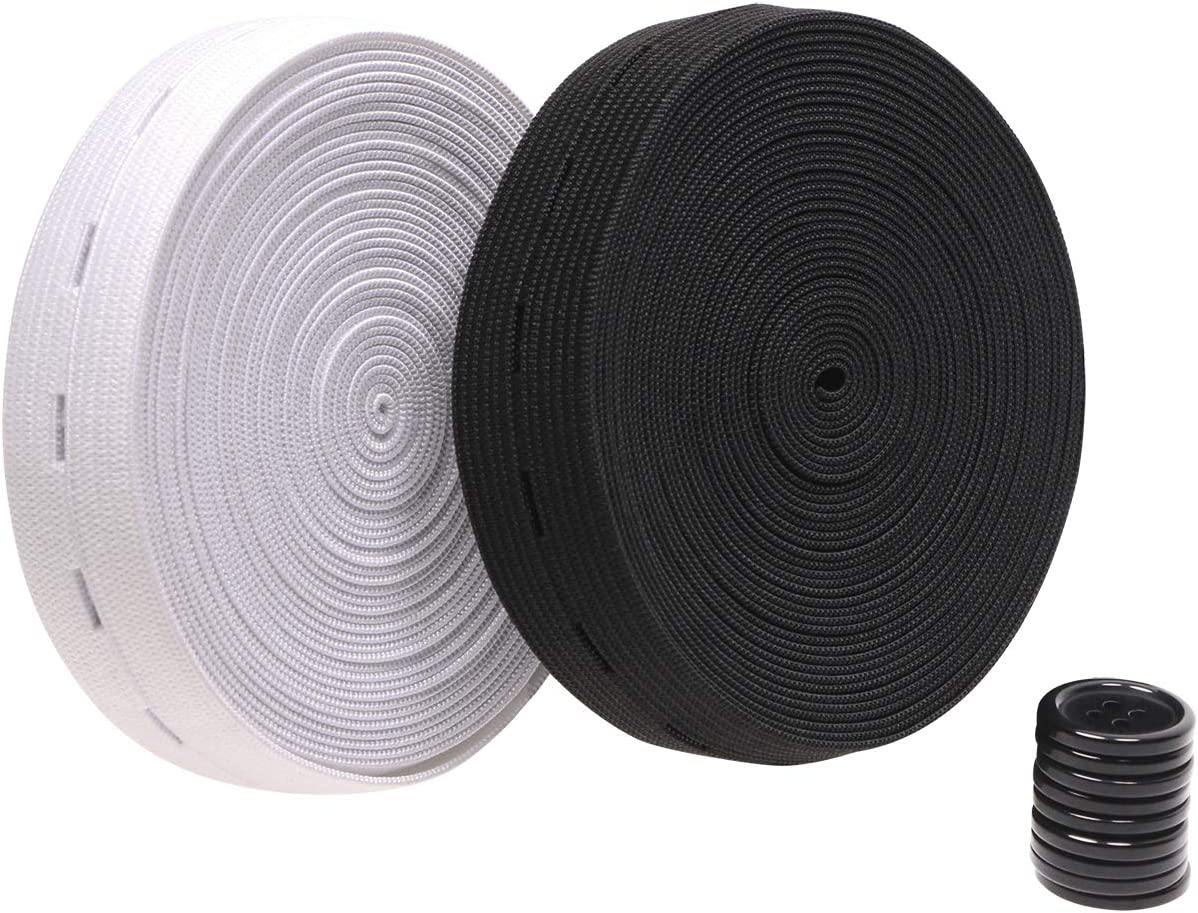 Penta Angel 2cm Buttonhole Elastic Sewing Bands Spool 11Yards Black /& White Adjustable Expanders Knit Stretch Belt with 10pcs 18mm Black Resin Button for Women Men Girls Boys Jeans Pants