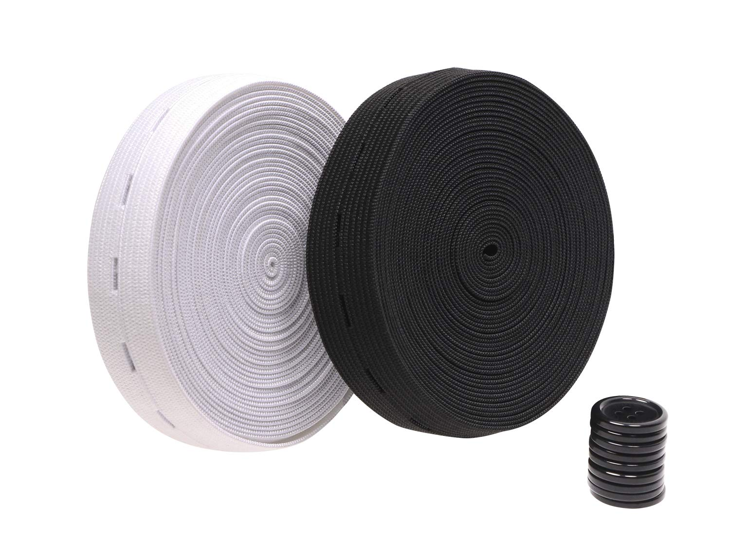 NBEADS 2 Rolls 25mm 5.5 Yard//roll Flat Rubber Elastic Band with 40 pcs Resin Buttons Springy Stretch Knitting Sewing Elastic Spool Elastic Bands Black and White