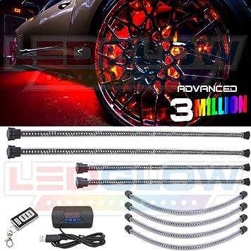 LEDGLOW 4pc WHITE LED NEON UNDERGLOW CAR LIGHTS /& 4pc WHEEL WELL FENDER KIT