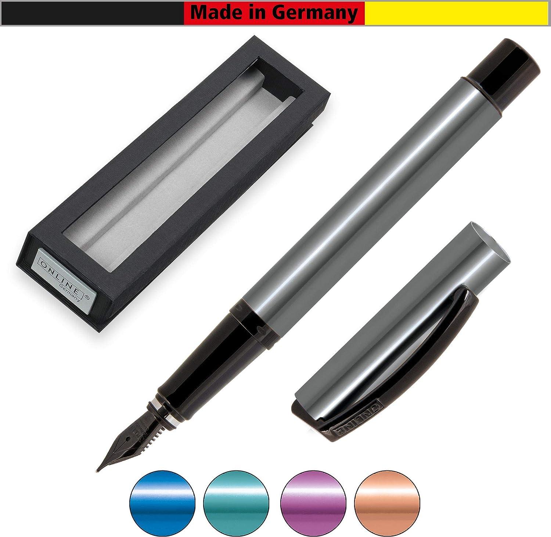 ONLINE 36022 Vision Magic Pink I - Pluma estilográfica (aluminio puro, grosor de trazo M, en caja de regalo), color rosa, color Oro rosa. Feder EF: Amazon.es: Oficina y papelería