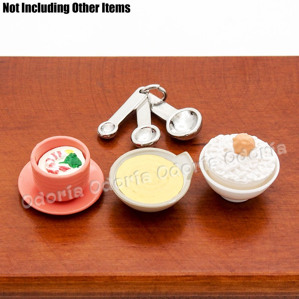 Odoria 1:12 Miniature Measuring Spoons Set of 3 with Ring Holder Dollhouse Kitchen Accessories