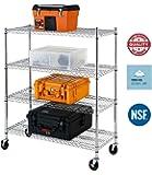 Callas Heavy-Duty 4-Shelf NSF Certified, Height Adjsutable 200 kg per Shelf Load Capacity Shelving Rack with Wheels, Chrome