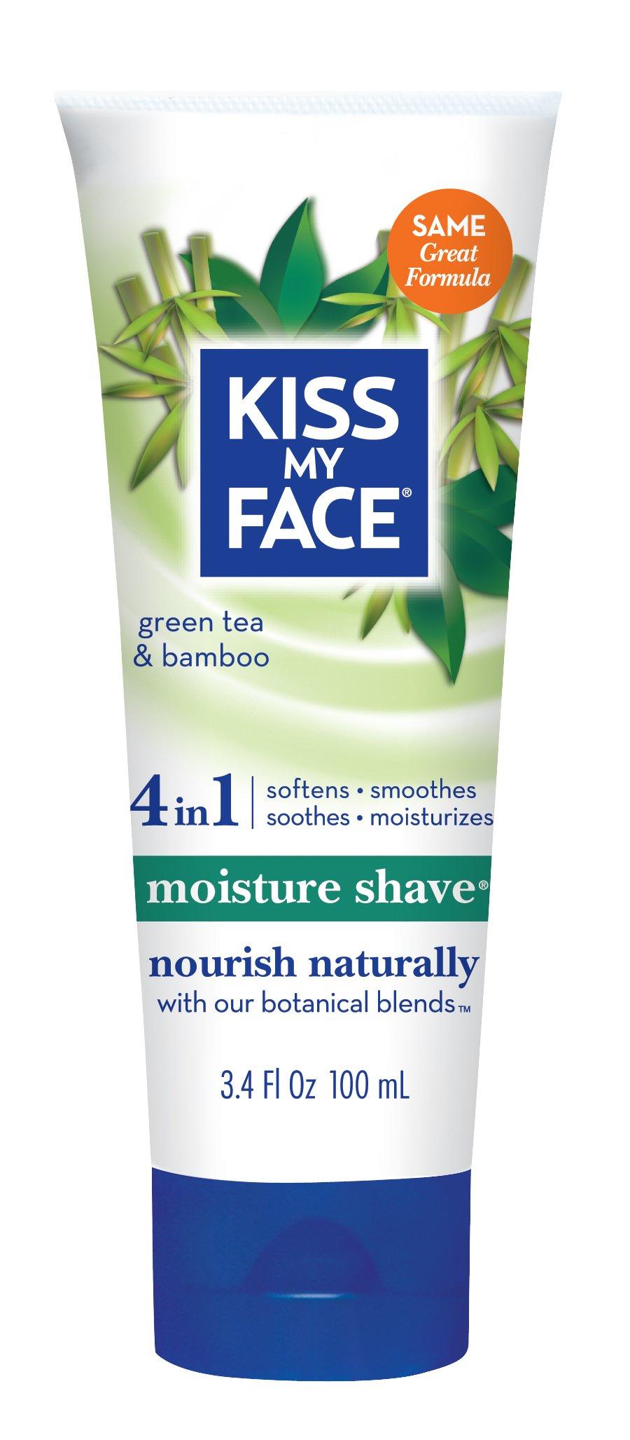 Kiss My Face Moisture Shave Shaving Cream, Green Tea and Bamboo Shaving Soap, 3.4 Ounce Travel Size
