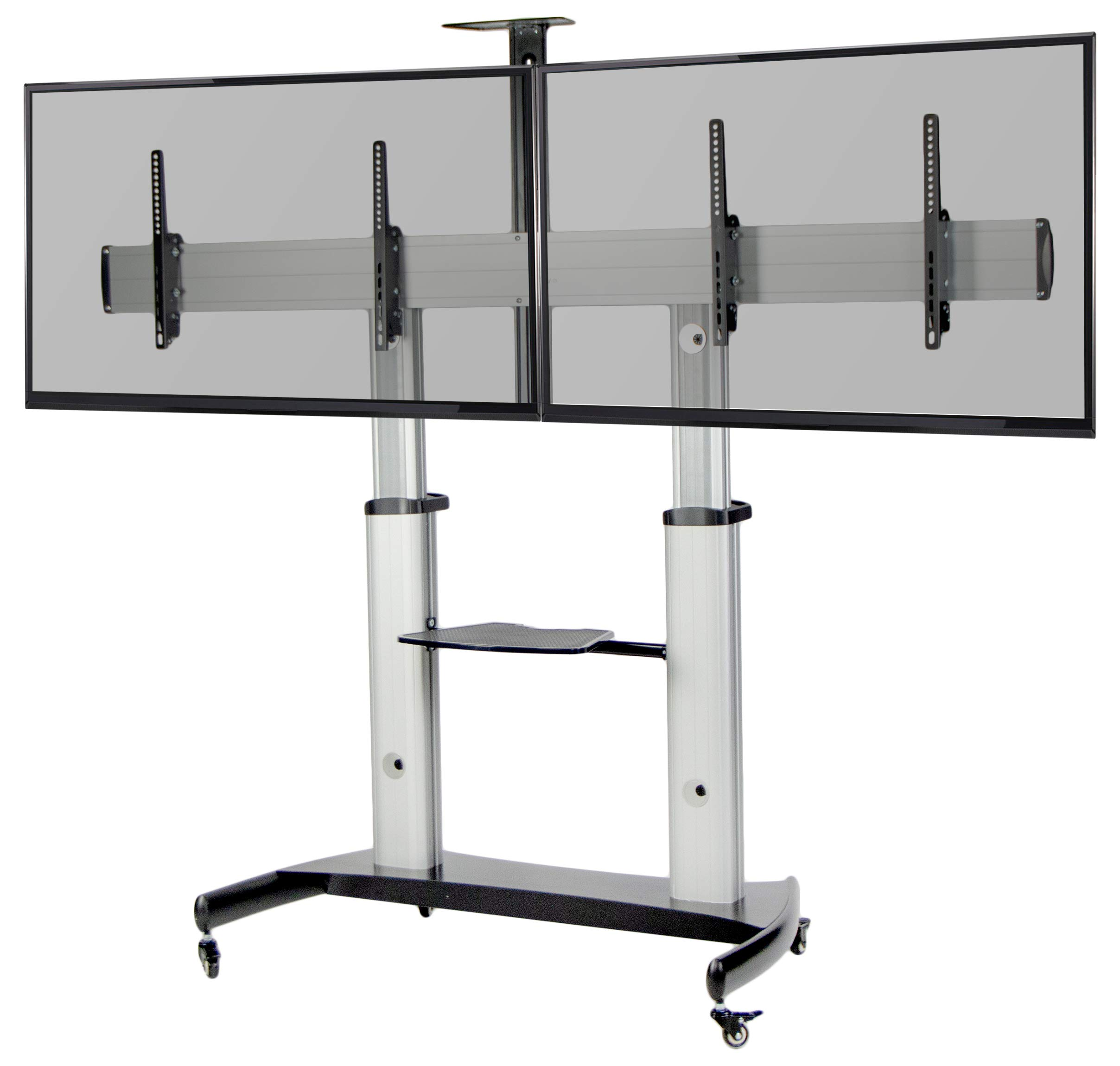 """VIVO Ultra Heavy Duty for Flat Screens up to 60"""" Mobile Rolling TV Stand   Adjustable Dual TV Cart Mount with Wheels (STAND-TV12H)"""