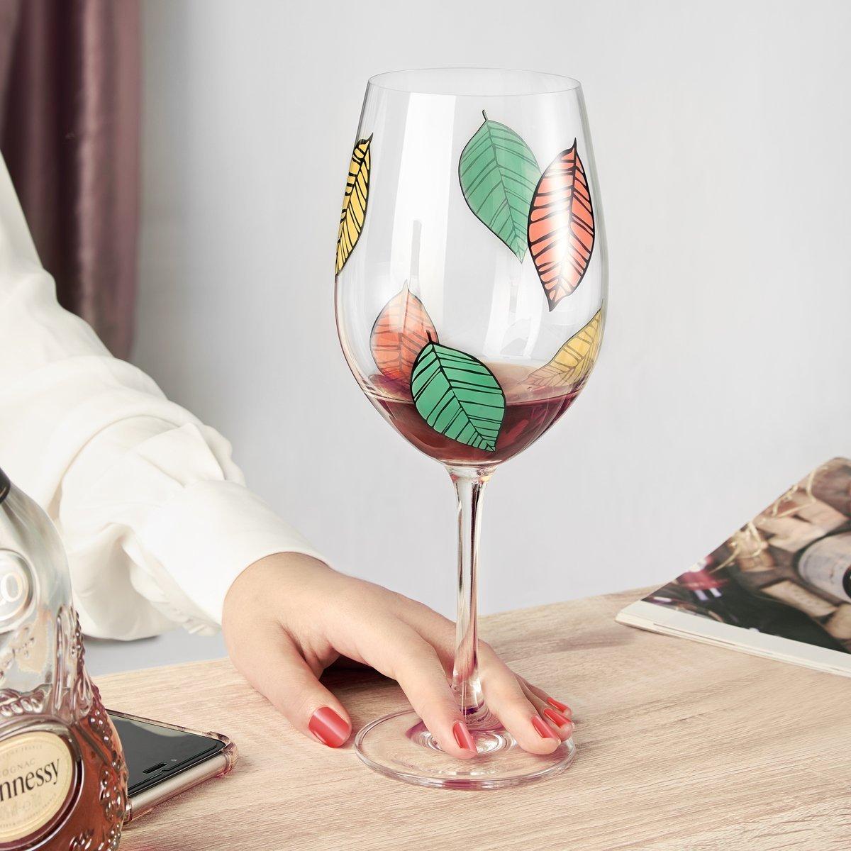 Wine Glass, 16 OZ Classy Red/White Wine Glass, Unique Leaf Patterns Arts Design Goblet, Lead-Free Premium Crystal Glass 9\
