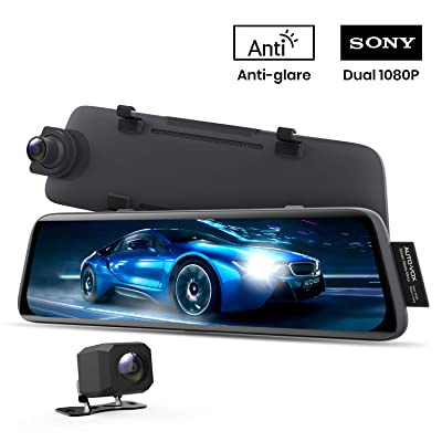AUTO-VOX V5 Mirror Dash Cam Front and Rear,No Glare Stream Media Rear View Mirror Camera with 9.35'' Full Laminated Touch Screen, 1080P Super Night Vision Backup Camera,GPS Tracking, Parking Mode: Car Electronics