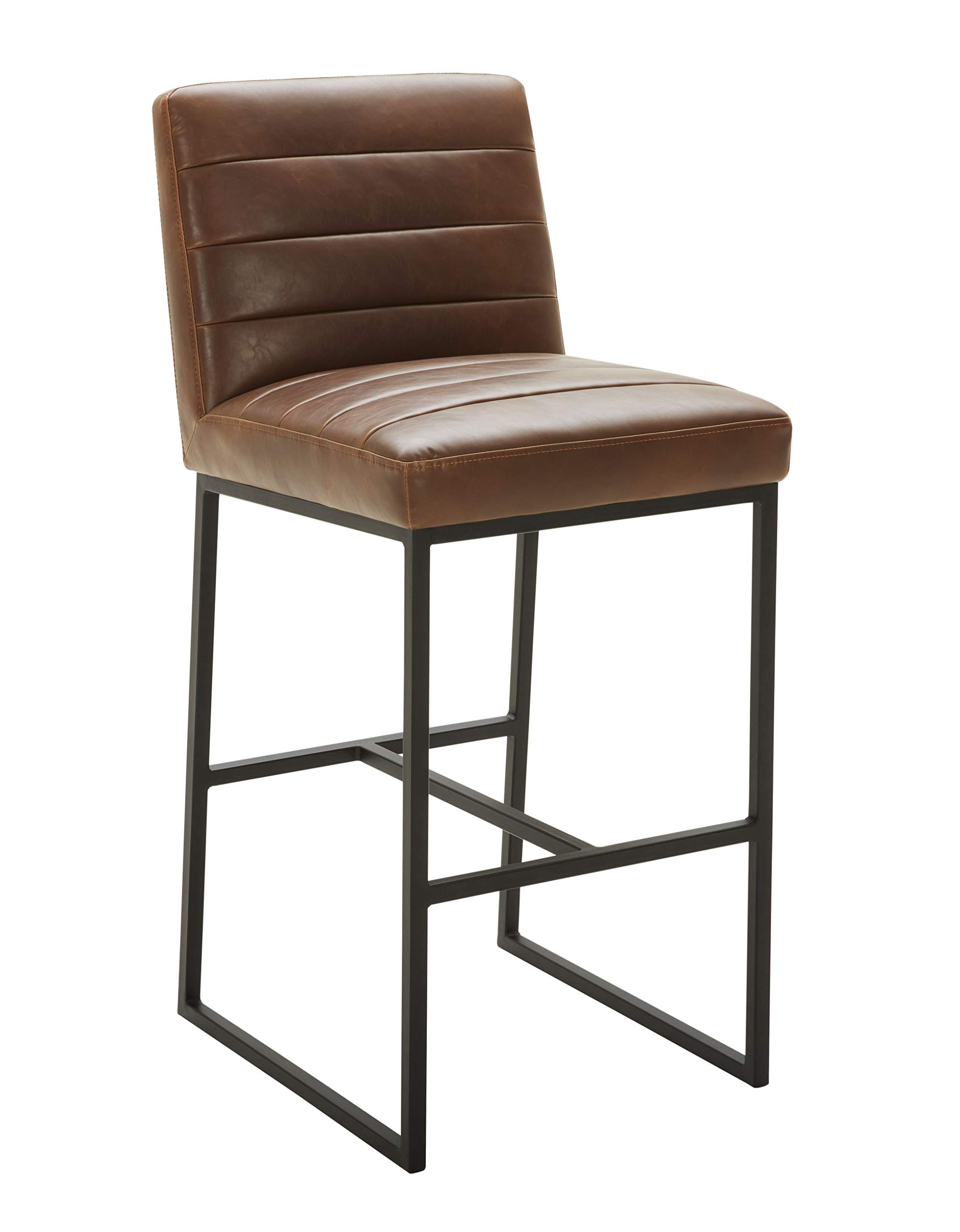 Rivet Decatur Modern Kitchen Counter Bar Stool with Back, 41''H, Brown by Rivet