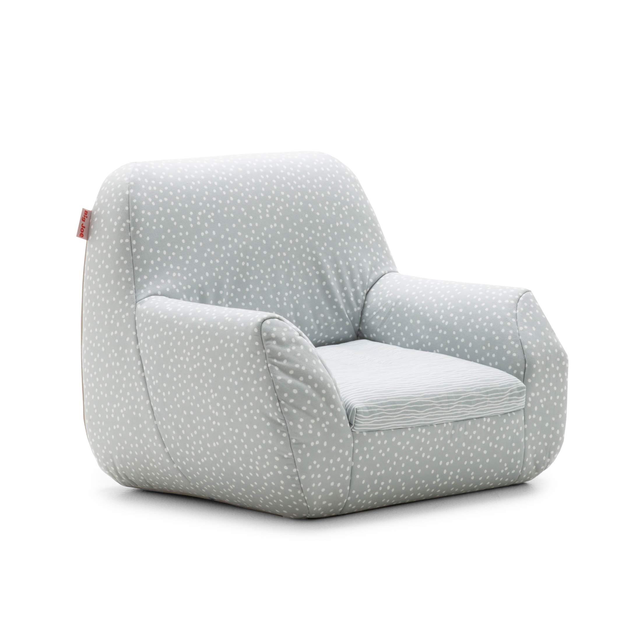 Big Joe 1596687 Mid Mod, Lenox Gray Stripes and Dots Kid's Chair,
