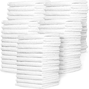 Zeppoli Wash Cloth Towels by Royal, 60-Pack, 100% Natural Cotton, 12 x 12, Soft and Absorbent, Machine Washable, White (60-Pack)