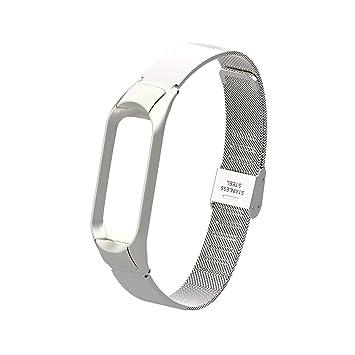 Eupoundo Compatible Xiaomi Mi Band 3 Correa, Luna Nueva Correa de Reloj de Pulseras Ajustable de Acero Inoxidable, Wristband Repuesto con Marco para ...