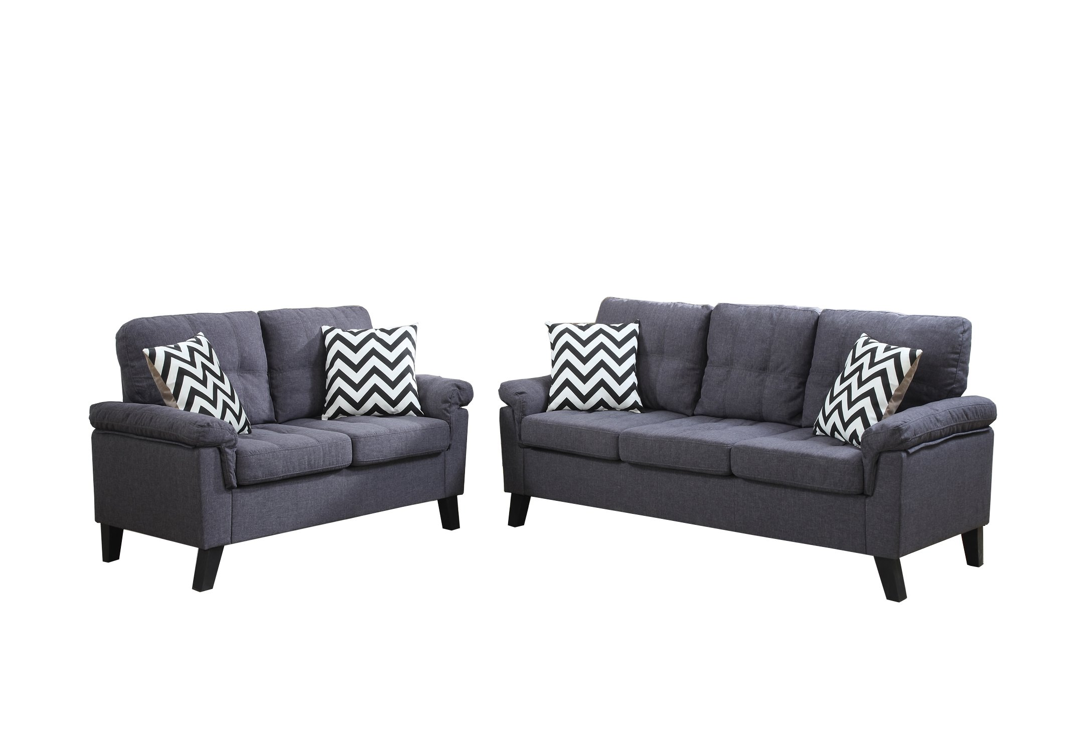 Poundex F6905 Bobkona Tyler Linen-Like 2 Piece Sofa and Loveseat Set, Blue Grey by Poundex