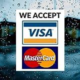 "Visa & MasterCard Vinyl Sticker Decal - 2 PACK - We Accept - Visa & MasterCard - 4"" x 5"" Vinyl Decal For Window - Shop, Cafe, Office, Restaurant"