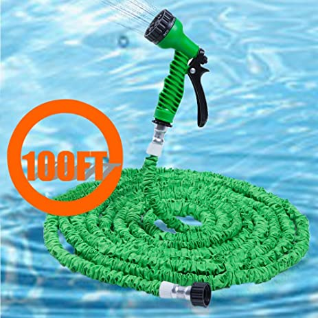 100FT Flexible Garden Hose Expandable Water Pipe 7 Pattern Spray With Spray  Nozzle