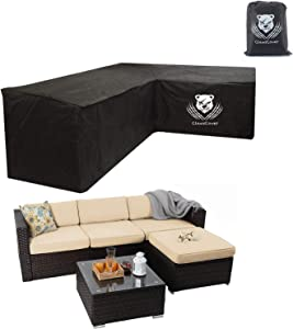 ClawsCover Sectional Sofa Covers Waterproof Outdoor L-Shaped Heavy Duty Patio Furniture Couch Cover Protector,2 Air Vents,6 Windproof Straps,Right Facing