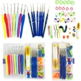 57 Pack Crochet Hooks Set Knitting Needles Kit Ergonomic Soft Rubber Handle Hooks 0.6mm to 6.0mm in US Standard Sizes with Complete Knitting Needle Accessories in Storage Case
