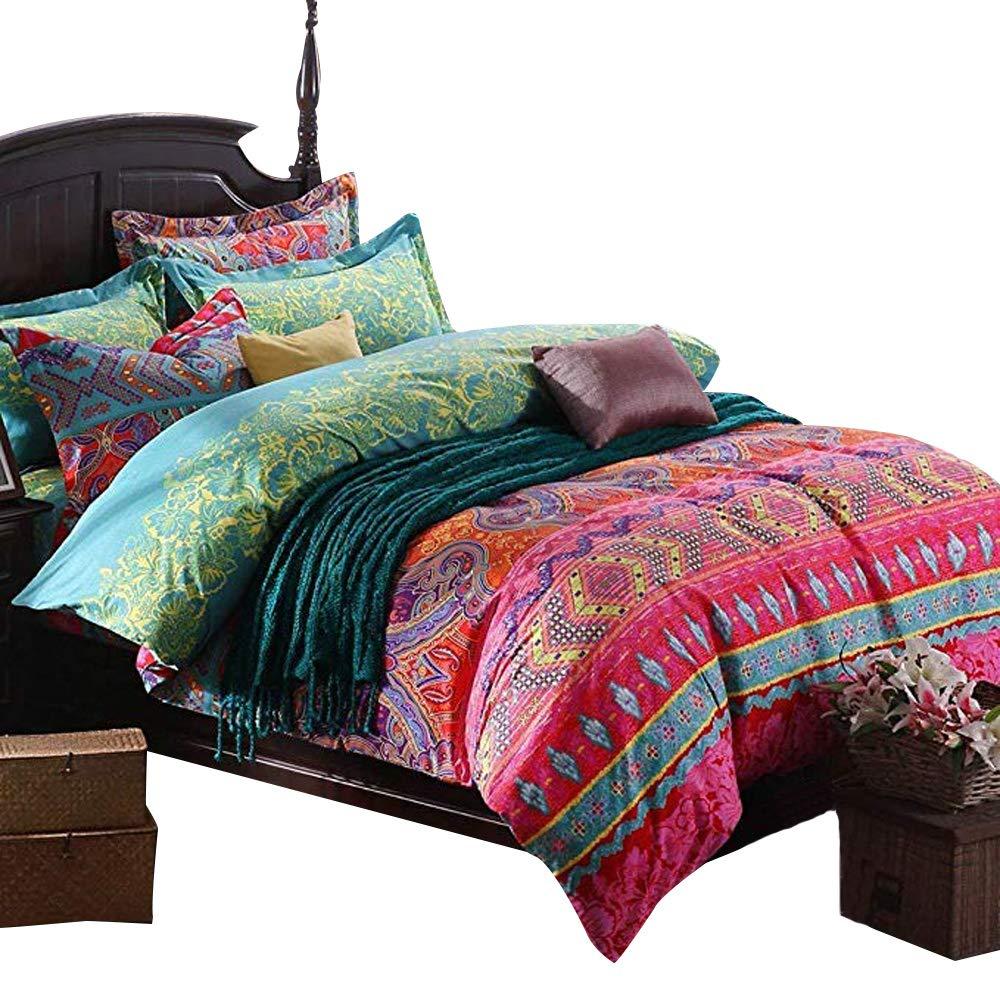 abreeze 4 piece bohemian style bedding set boho duvet covers king size ebay. Black Bedroom Furniture Sets. Home Design Ideas