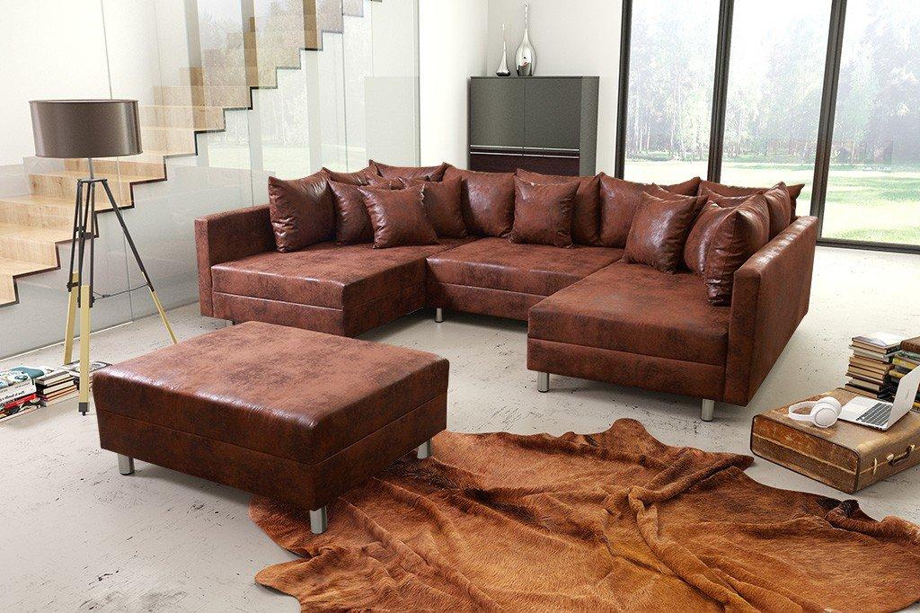 Wohnlandschaft Sofa Couch Ecksofa Eckcouch In Mikrofaser Vintage