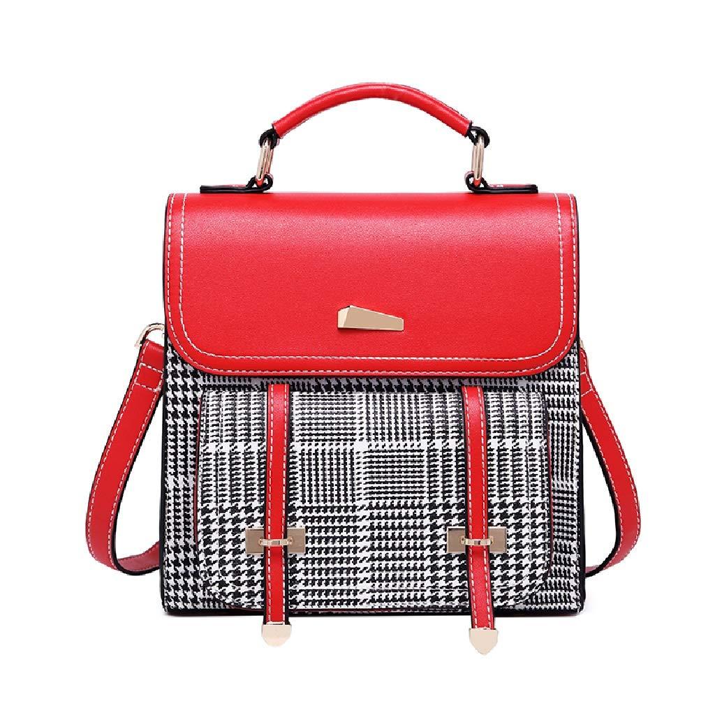 C&S Zaino a reticolo semplice Lady Leisure Outdoor Shopping Borsa a tracolla singola moda multifunzionale PU Materiale resistente all'usura