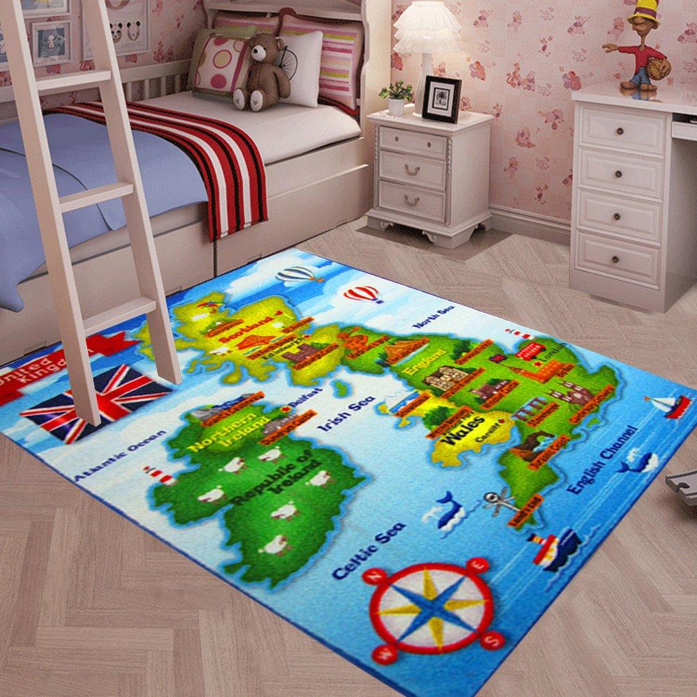 Interactive Map Of Ireland For Kids.Yazi Kids Rugs Play Games Mats United Kingdom Uk Map Educational Fun