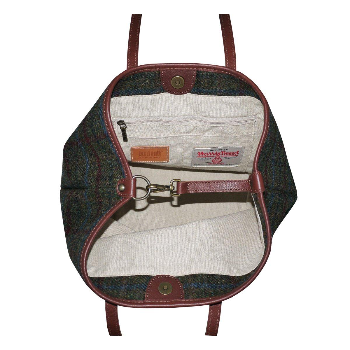 37f8f1218f35 Bonfanti Leather And Harris Tweed Tote Shopper Handbag - Tartan (green)   Amazon.co.uk  Luggage