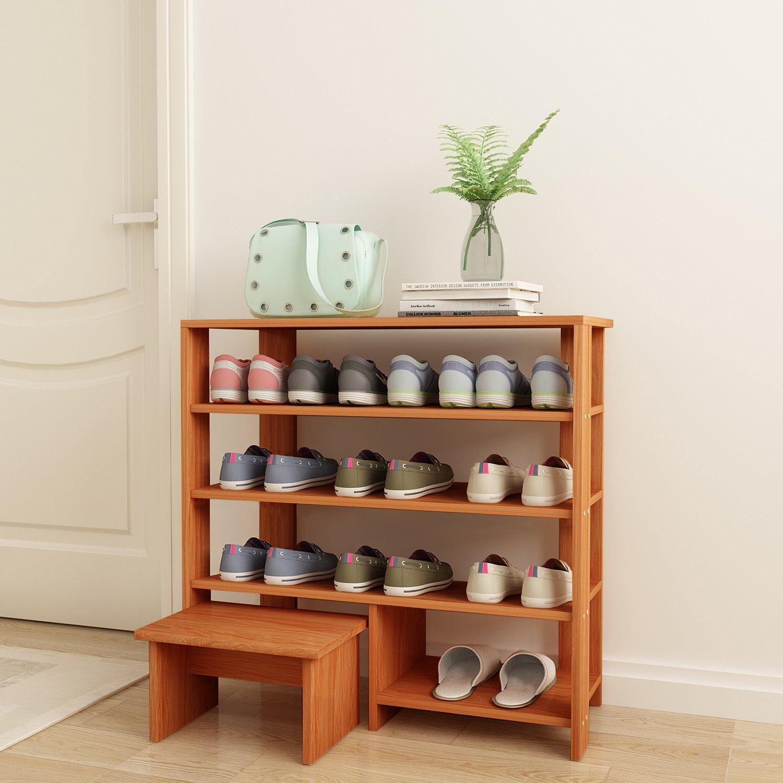 DL furniture - Espresso Finish MDF Wood Storage Shoe 4 Shelves Storage Rack