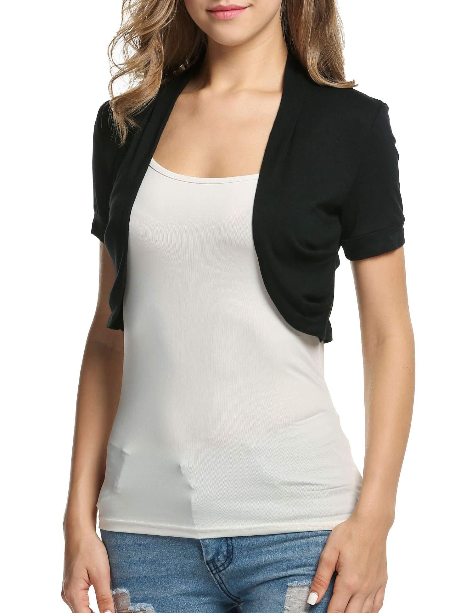 3f20f88463 BEAUTYTALK Women s Short Sleeve Shrug Open Front Casual Cardigan Black  Bolero Jacket(Black