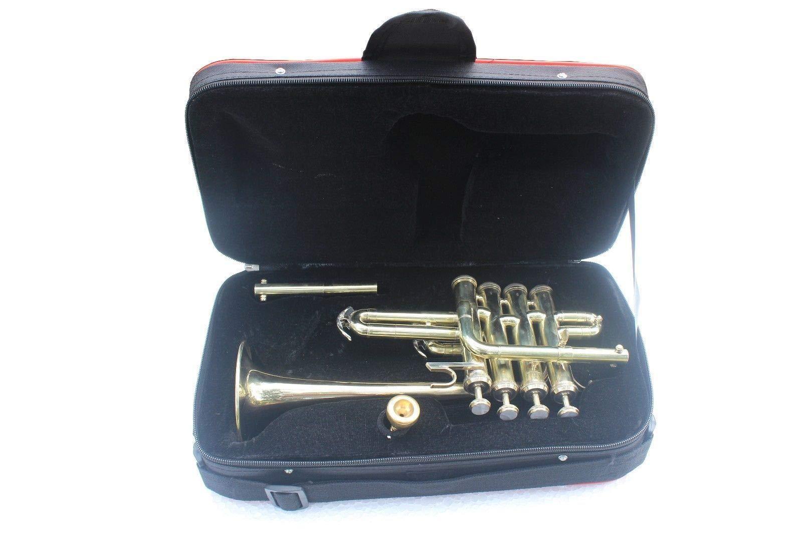SHREYAS Brass Piccolo Trumpet Brass Finish Picollo Bb/A Pitch W/Case-Mp Gold VTR147