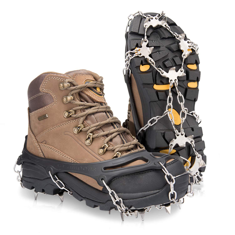 Deyard Traction Cleats Chaussures de Glisse Anti-dérapantes Unisexes 19 Pointes Marcher, Faire du Jogging, Grimper Faire de la Neige Deyard Tech