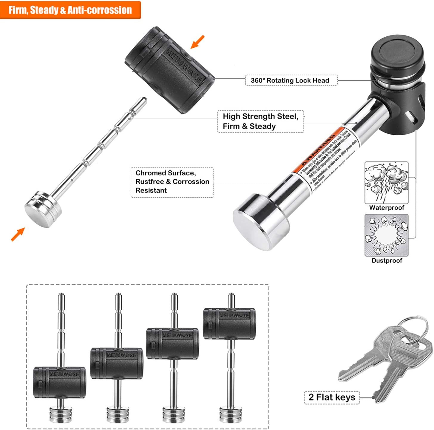CZC AUTO Hitch Receiver Pin Lock Hitch Lock 5//8 Inch Trailer Receiver Lock for Class III IV 2 2-1//2 Inch Trailer Tongue Coupler Lock Adjustable Dia 1//4 Inch 3 Inch Effectice Length Hitch Lock Set
