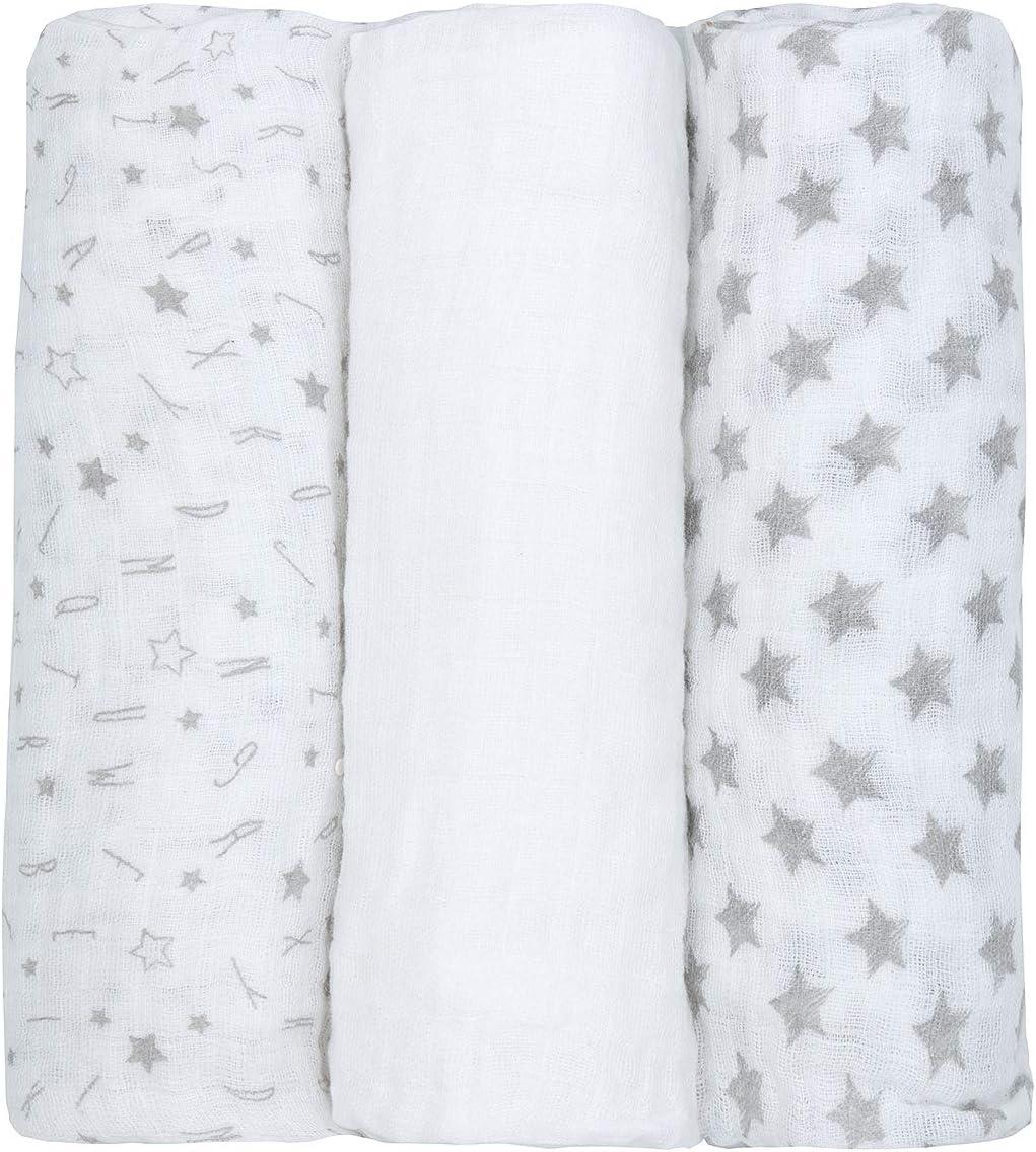 paquet de 3 76x76cm Nouveau-n/é B/éb/é Mousseline Lingette carr/és Taille unique 76 cm x 76 cm Gris 100/% coton emmailloter Couverture pour Gar/çons /& Filles